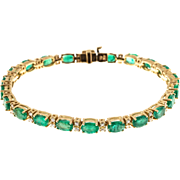 Oval Green Emerald Round Diamond 14 Karat gold Hinged Link Bracelet