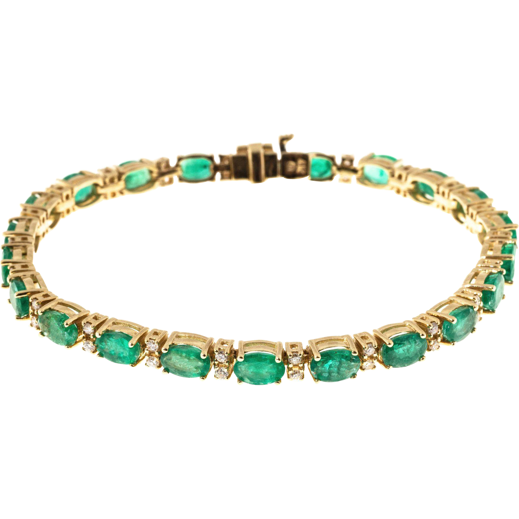 Oval Green Emerald Round Diamond 14 Karat gold Hinged Link Bracelet