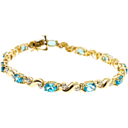 "Blue Topaz Diamond 14 Karat Yellow Gold Hinged ""S"" Link Bracelet"
