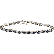 Cornflower Sapphire Full Cut Diamond 14 Karat White Gold Bracelet