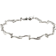 Diamond Tube Set 14 Karat White Gold Hinged Bar Bracelet