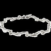 Diamond Tube Set 14 Karat White Gold Hinged Bar Bracelet