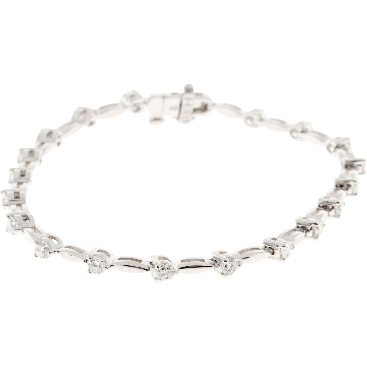 1.68 Carat Diamond 14 Karat White Gold Hinged Link Tennis Bracelet