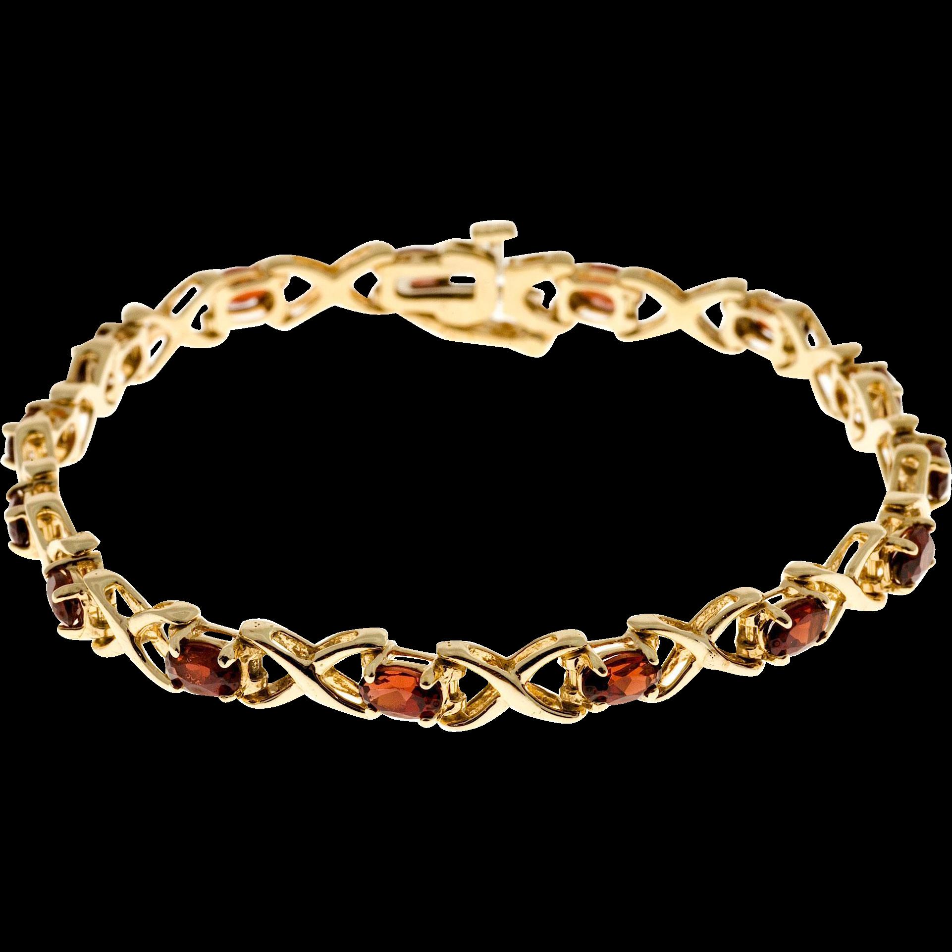 "Oval Garnet ""X"" Design 14 Karat Yellow Gold Hinged Link Bracelet"