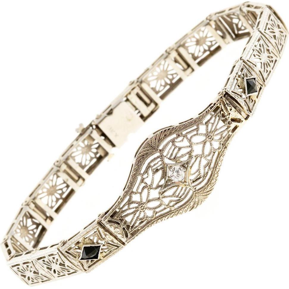Diamond Calibre Sapphire Filigree 14 Karat White Gold Art Deco Bracelet