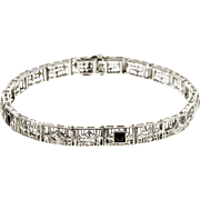 Diamond Onyx 14 Karat White Gold  Art Deco Filigree Bracelet
