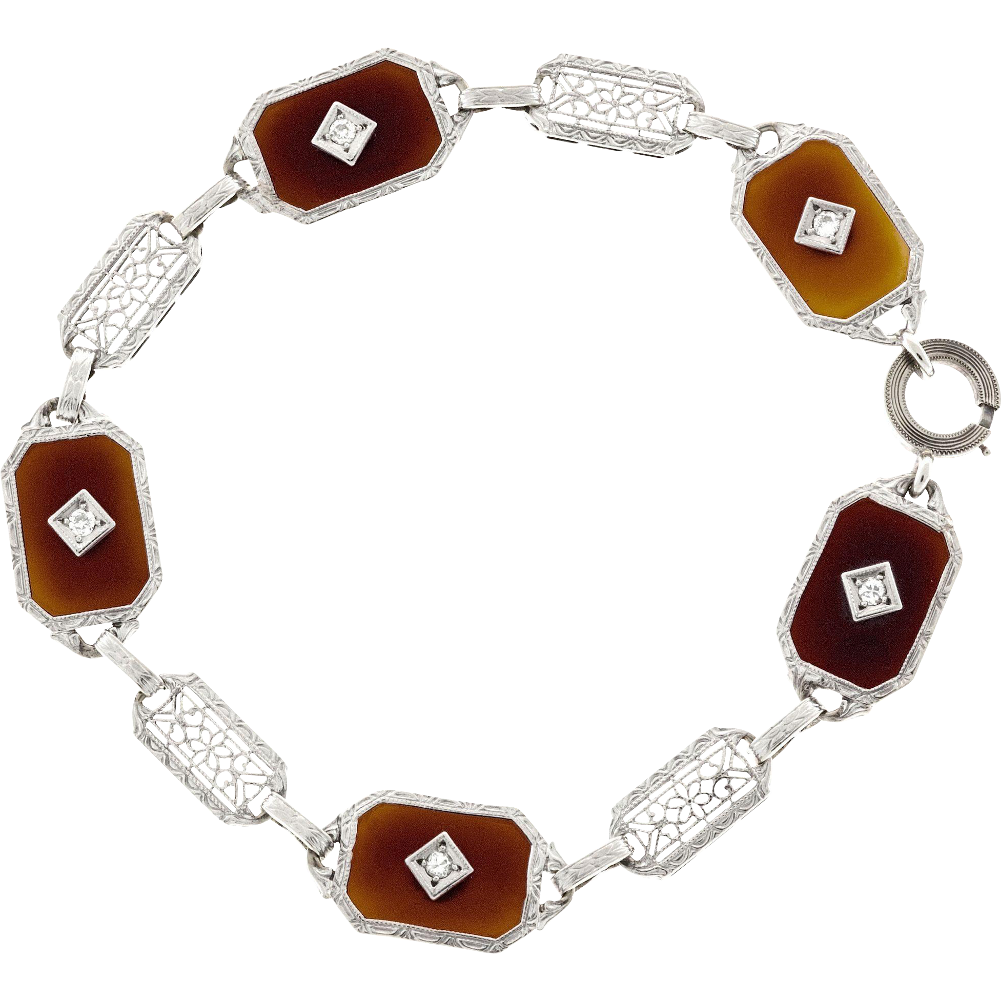 Diamond Carnelian 14 Karat White Gold Bracelet