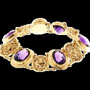Amethyst Filigree 14 Karat Gold Bracelet