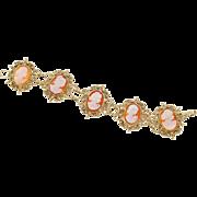 Woman Profile Cameo 14 Karat Yellow Gold Hinged Bracelet