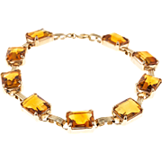 Madera Citrine 14 Karat Rose Gold Natural Hinged Bracelet