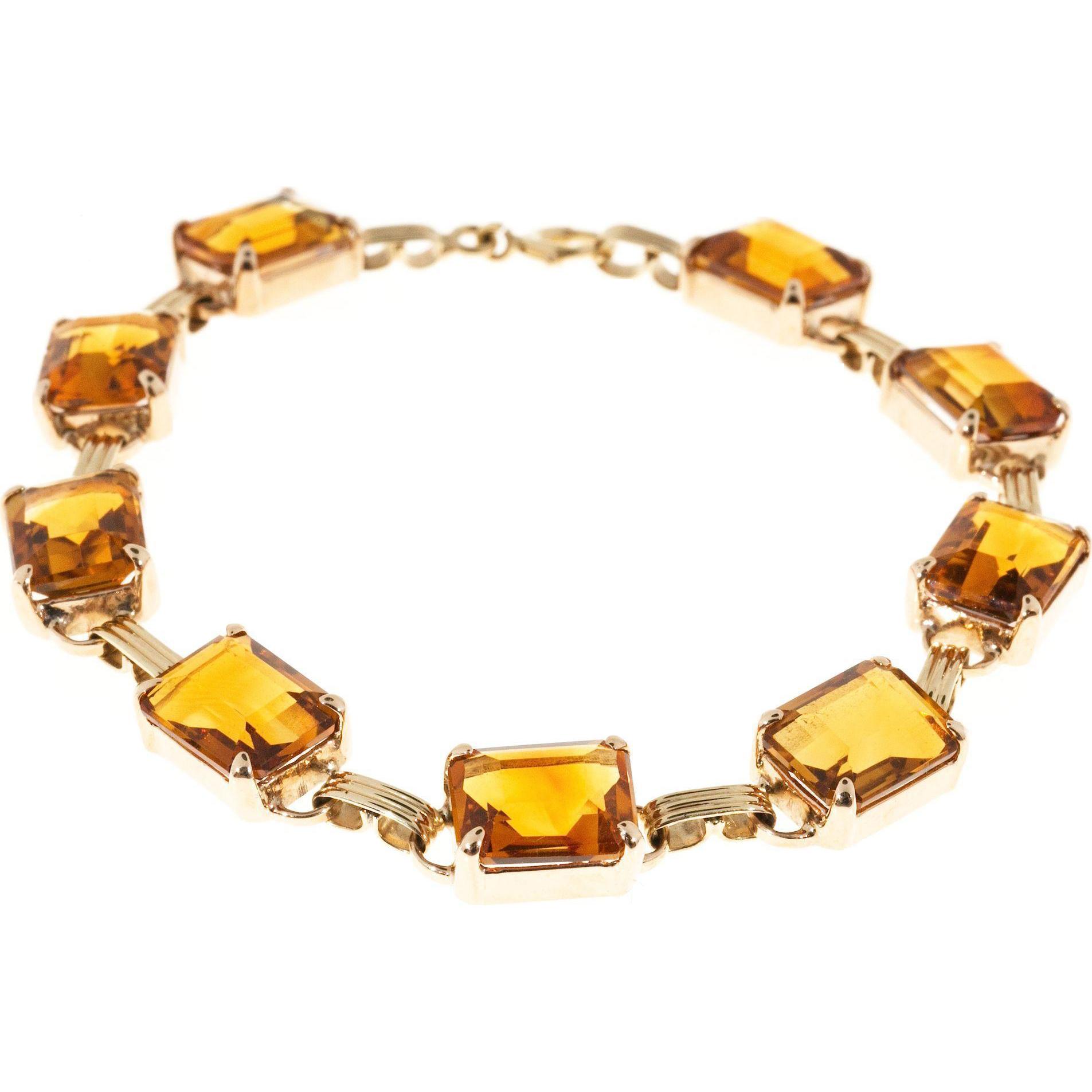 Madera Citrine 14 Karat Rose Gold Natural Hinged Bracelet