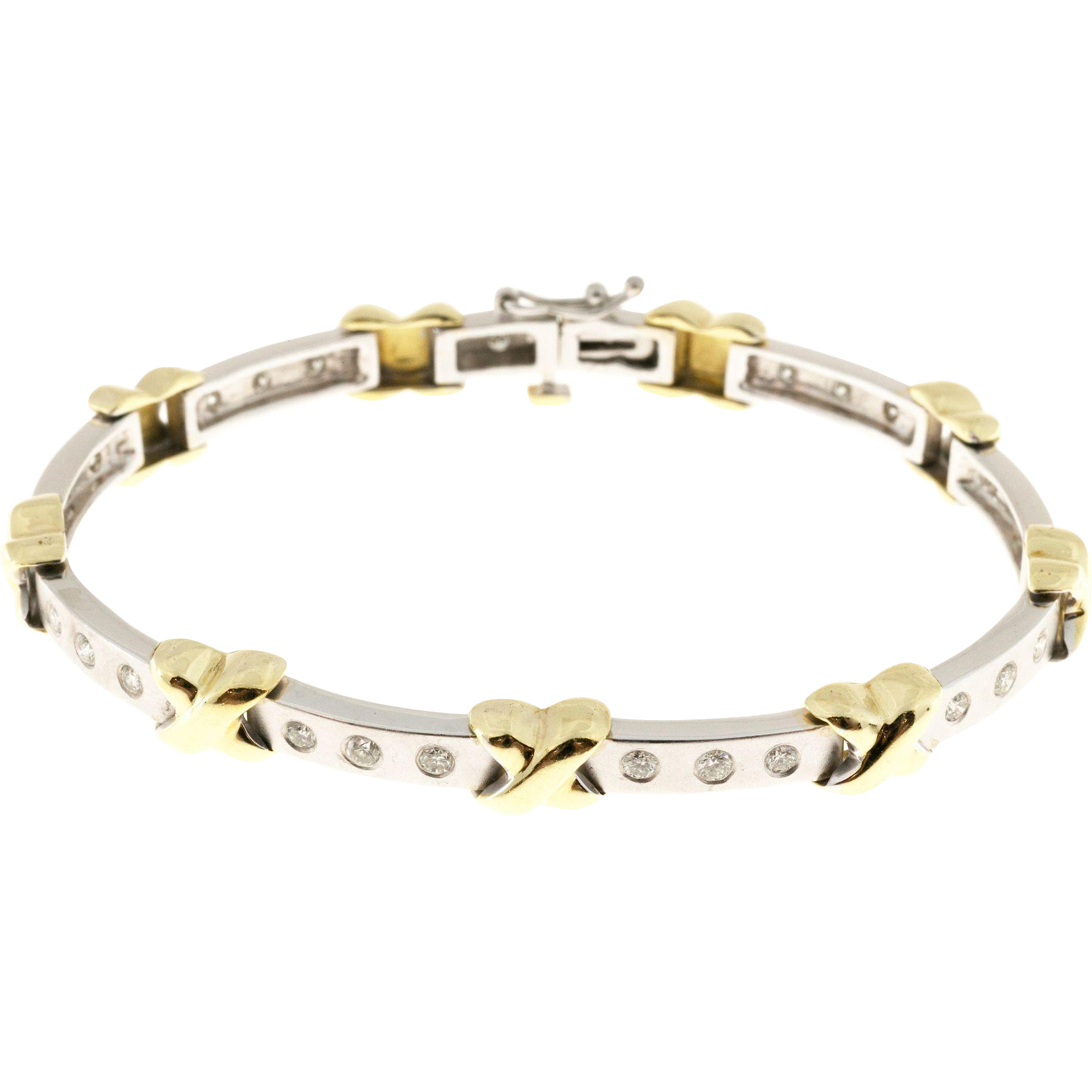 Diamond 18 Karat Yellow White Gold 2 Tone X Diamond Bracelet