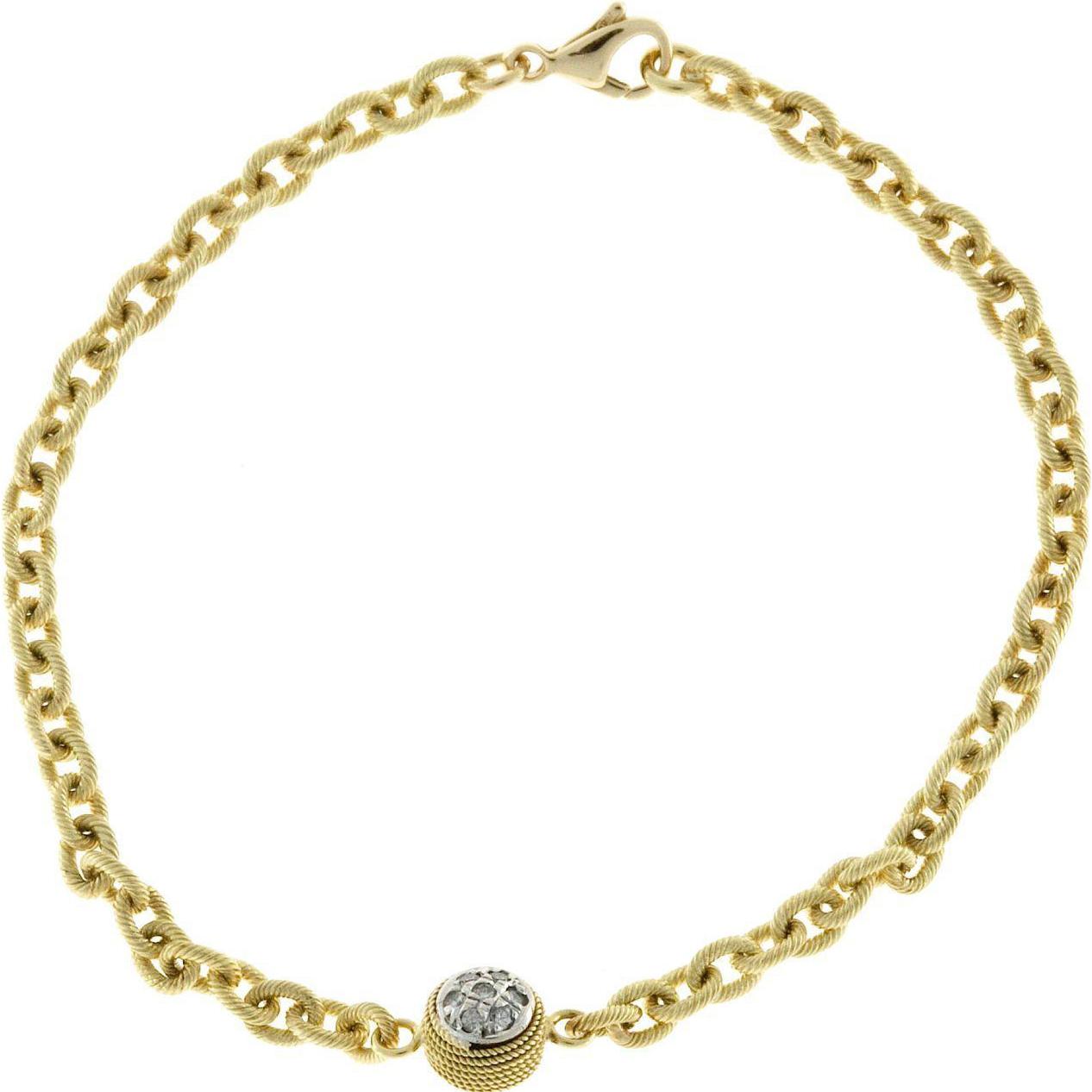 Diamond 18 Karat Gold Textured Bracelet