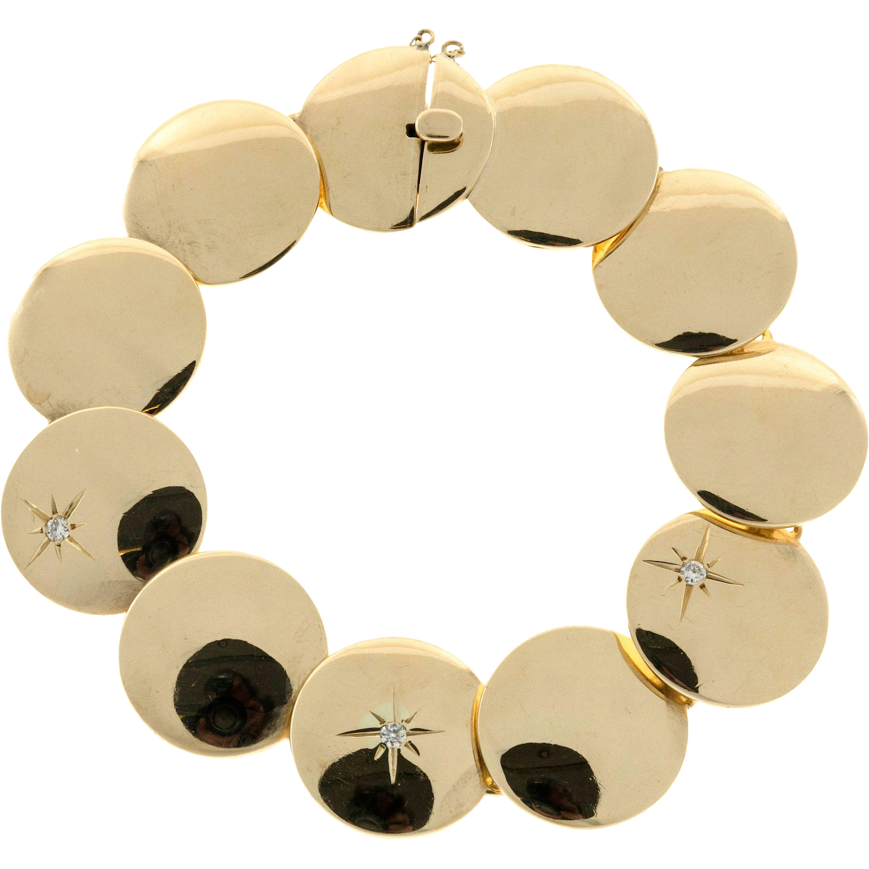 Diamond Round Link 14 Karat Yellow Gold Hinged Bracelet