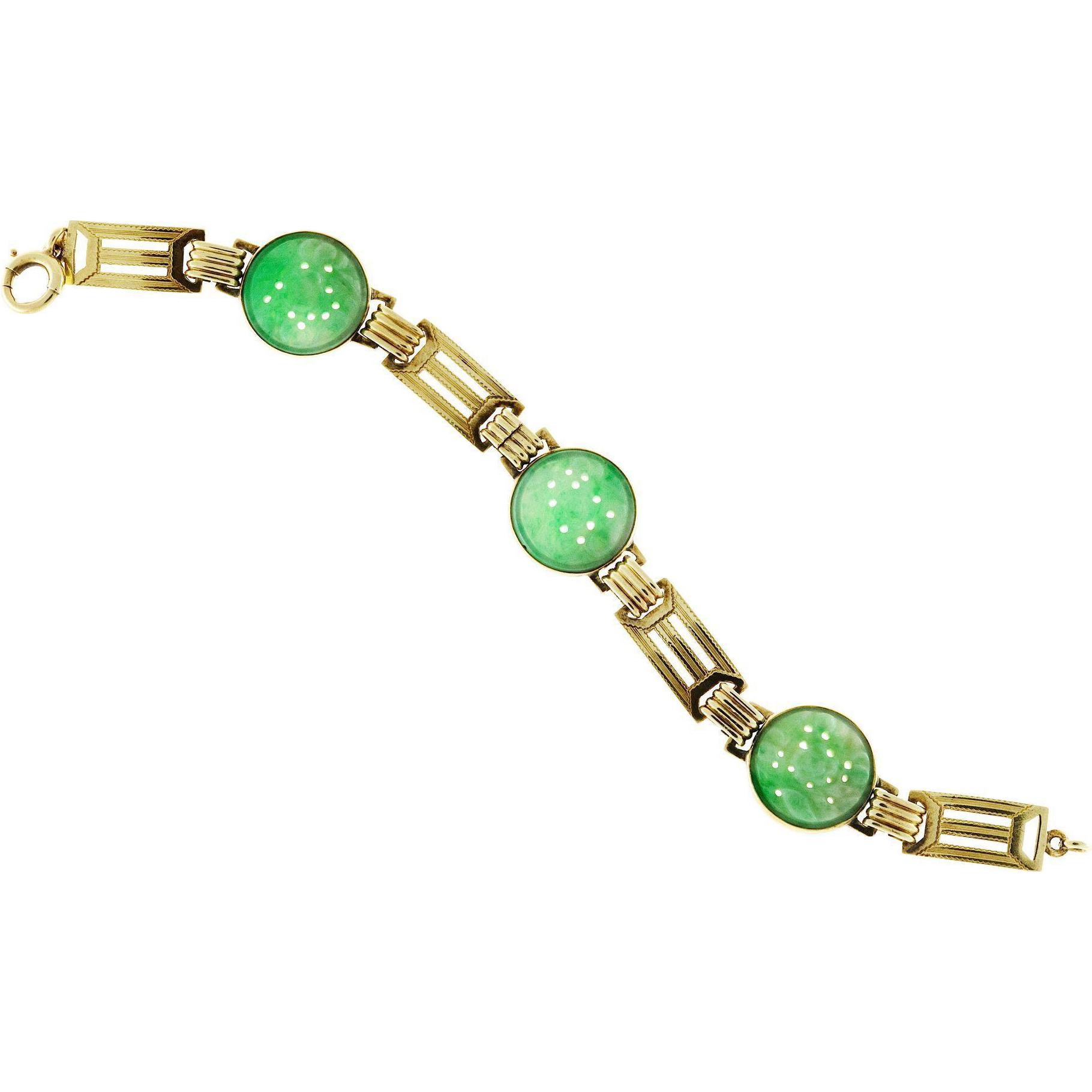 Carved Jadeite Jade 14 Karat Green Gold Bracelet