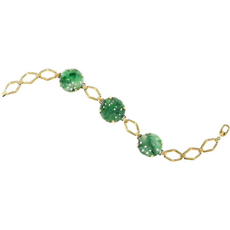 Jadeite Jade 3 Stone 14 Karat Gold Hand Engraved Bracelet
