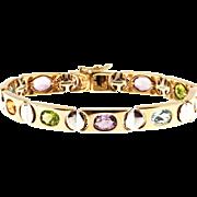 Topaz Amethyst Citrine Peridot Two Tone 14 Karat Gold Bracelet