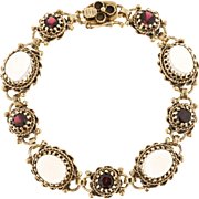 Blue Oval Moonstone Garnet 14 Karat Yellow Gold Bracelet