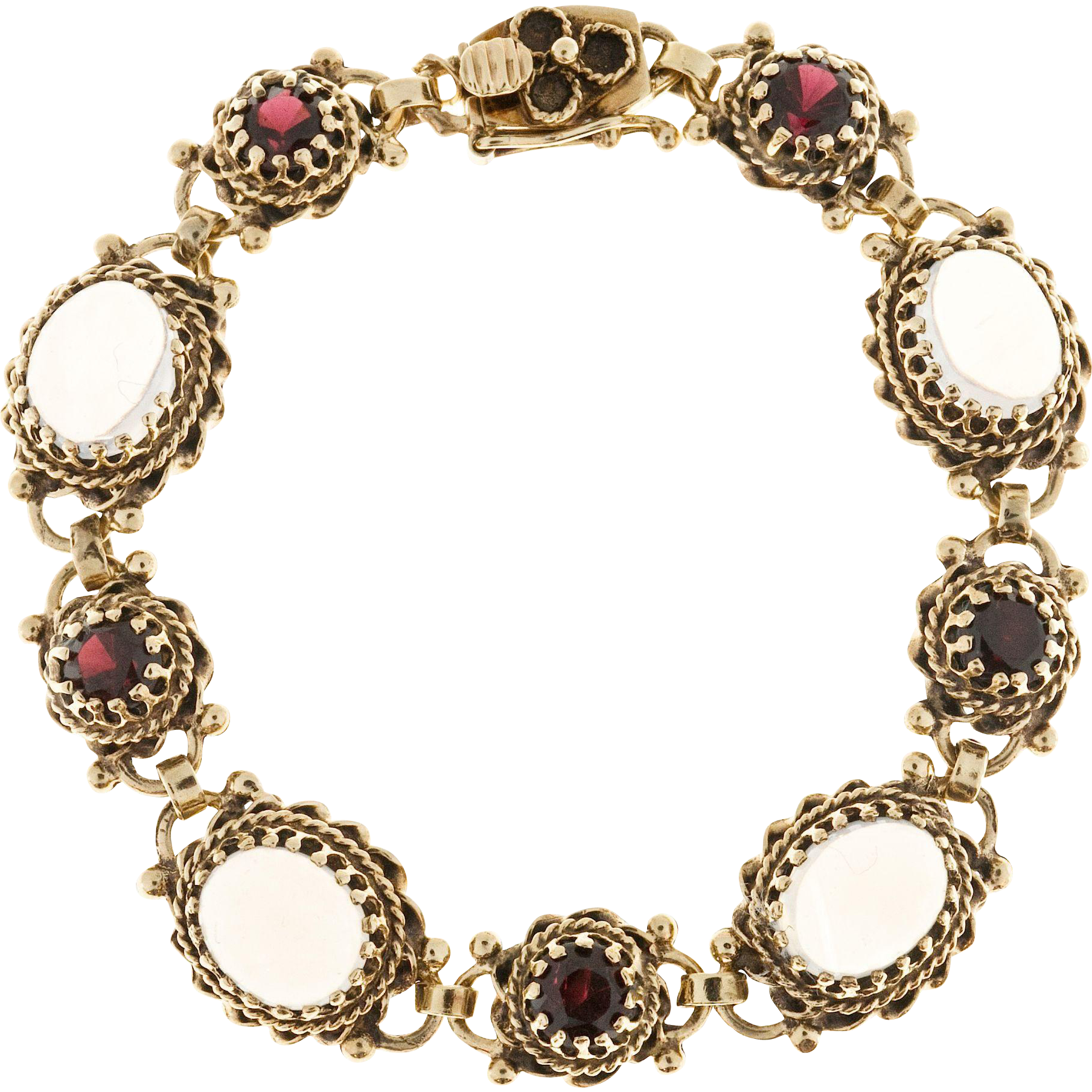 Blue Oval Moonstone Garnet 14 Karat Yellow Gold Bracelet