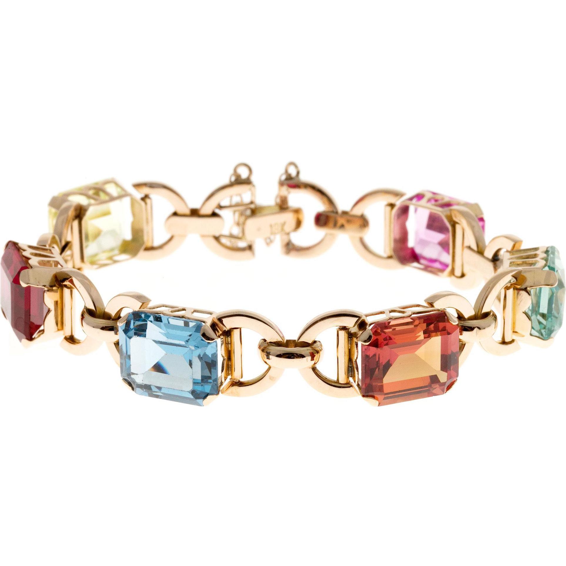 Multi Color Synthetic Stone 18 Karat Rose Gold Bracelet