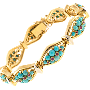 Vintage Persian Turquoise Ruby 18 Karat Yellow Gold Hinged Link Bracelet
