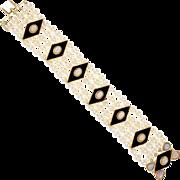 Vintage 1960s 5 Row Cultured Pearl Black Onyx Opal 14 Karat Yellow Gold Bracelet
