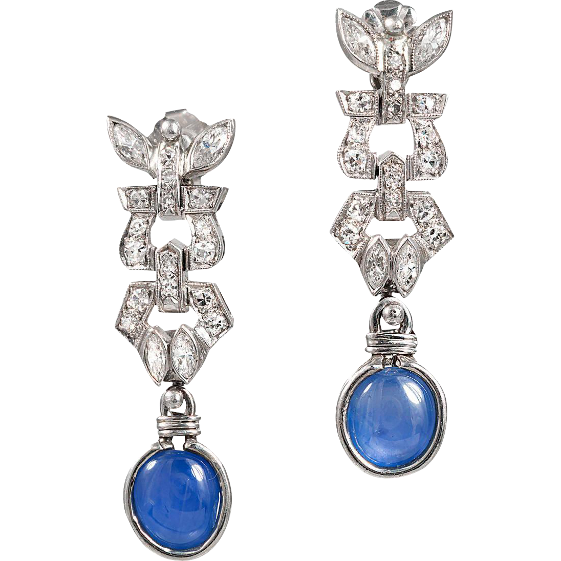 Art Deco Cabochon Sapphire Diamond Platinum Dangle Earrings