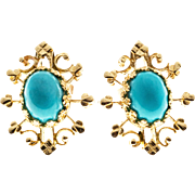 Turquoise 14 Karat Rose Gold Open Work Earrings