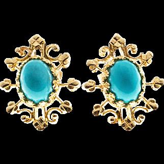 Turquoise 14 Karat Rose Gold Open Work Earrings