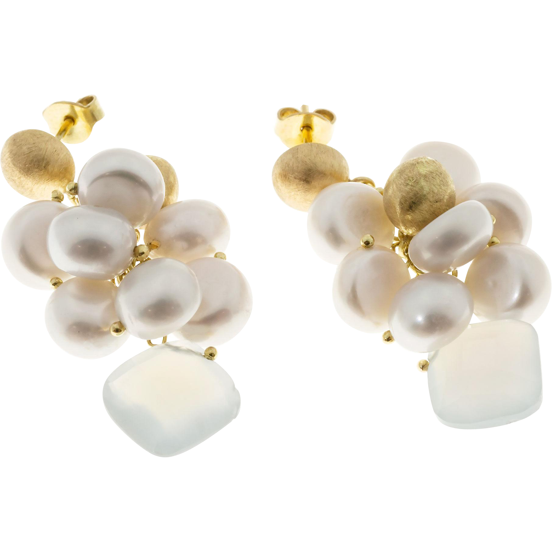 Freshwater Cultured Pearl Blue Calcedony Textured 18 Karat Yellow gold  Dangle Earrings