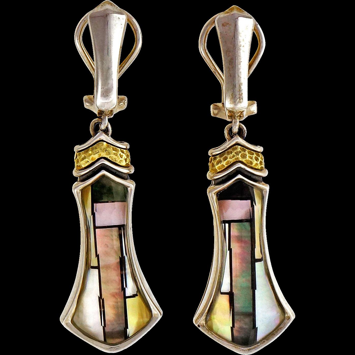 Asch Grossbardt Mother of Pearl Quartz Silver 18 Karat Gold Dangle Earrings