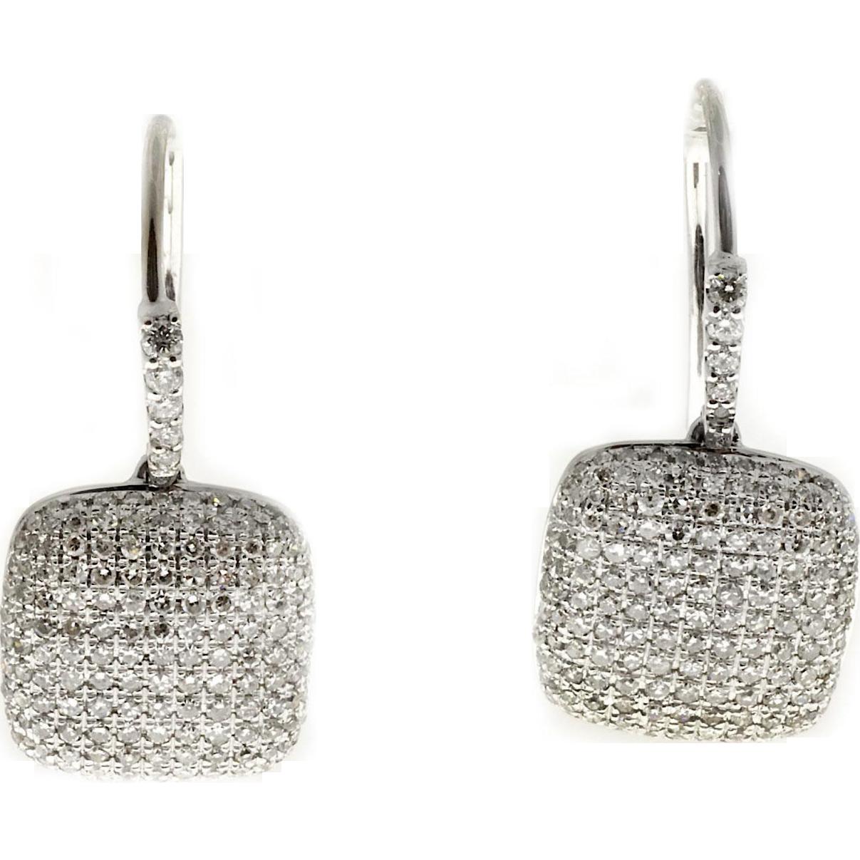.90ct Diamond Pave Cushion 14 Karat White Gold Earrings