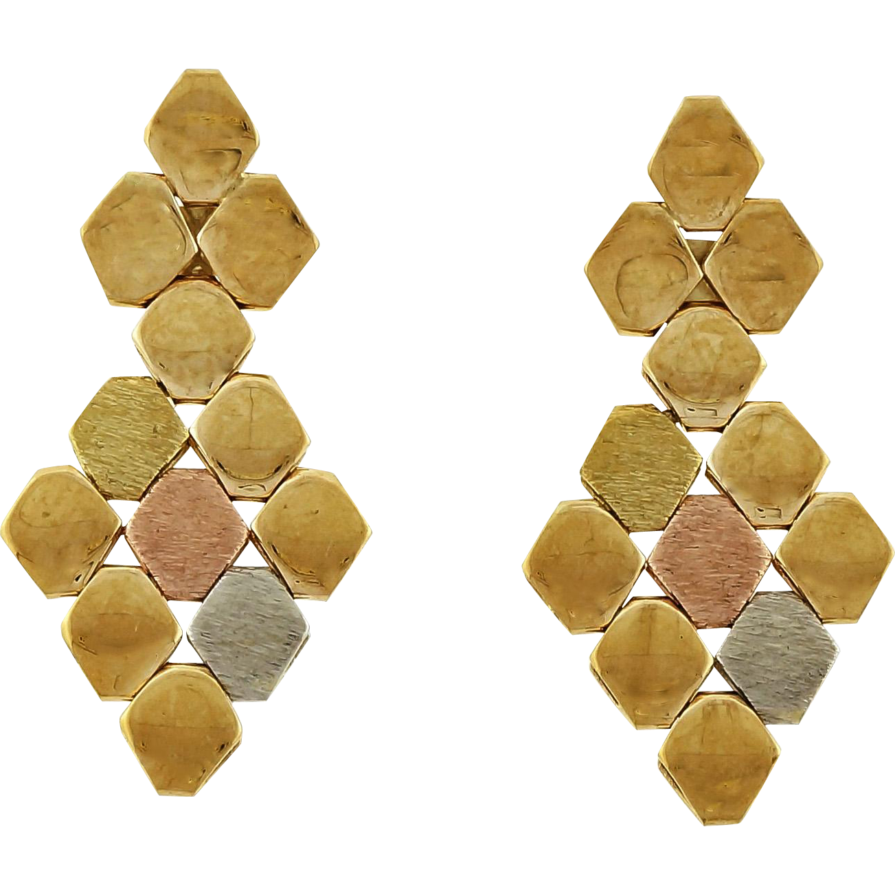 Rose Yellow 14 Karat Gold Dangle Earrings