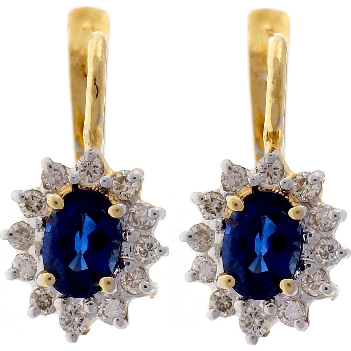 Sapphire Diamond Halo 14 Karat Yellow Gold Dangle Earrings
