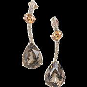Brown Diamond Quartz Citrine 14 Karat Yellow Gold Dangle Drop Earrings