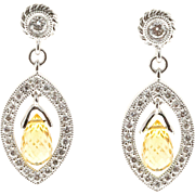 Yellow Sapphire Briolette Pave Diamond 18 Karat White Gold Dangle Earrings