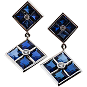 Synthetic Sapphire Genuine Diamond 14 Karat White Gold Square Dangle Earrings
