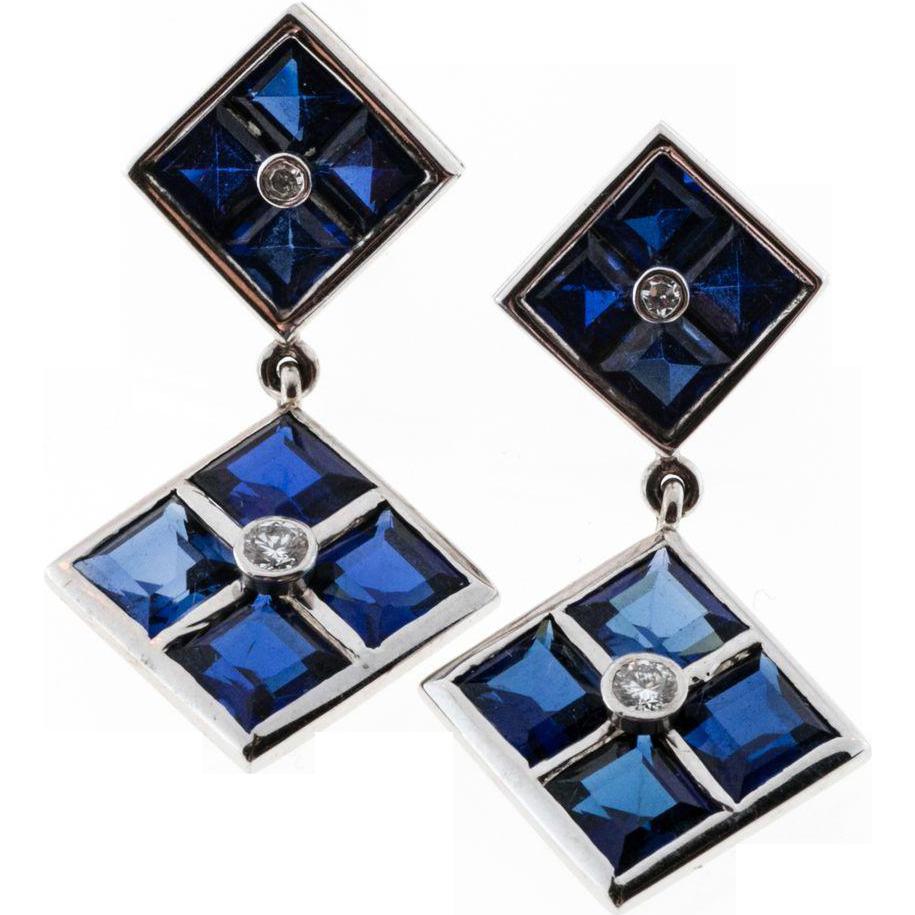 Synthetic Sapphire Genuine Diamond 14 Karat White Gold Square Dangle Earrings
