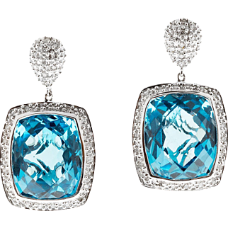Blue Topaz Diamond Halo 14 Karat White Gold Dangle Earrings