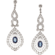 Edwardian Sapphire Diamond Platinum Dangle Earrings