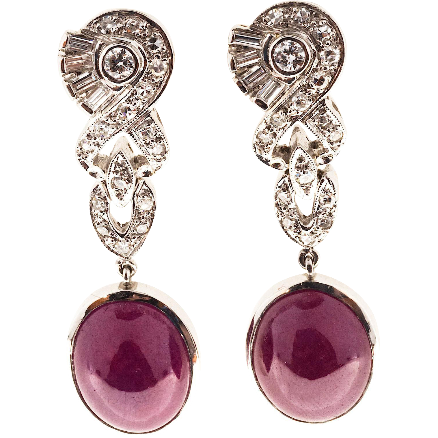 Cabochon Fine Red Ruby Diamond Platinum Dangle Earrings