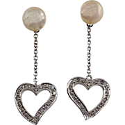 Cultured Pearl Double Sided Diamond Heart 18 Karat White Gold Dangle Drop Earrings