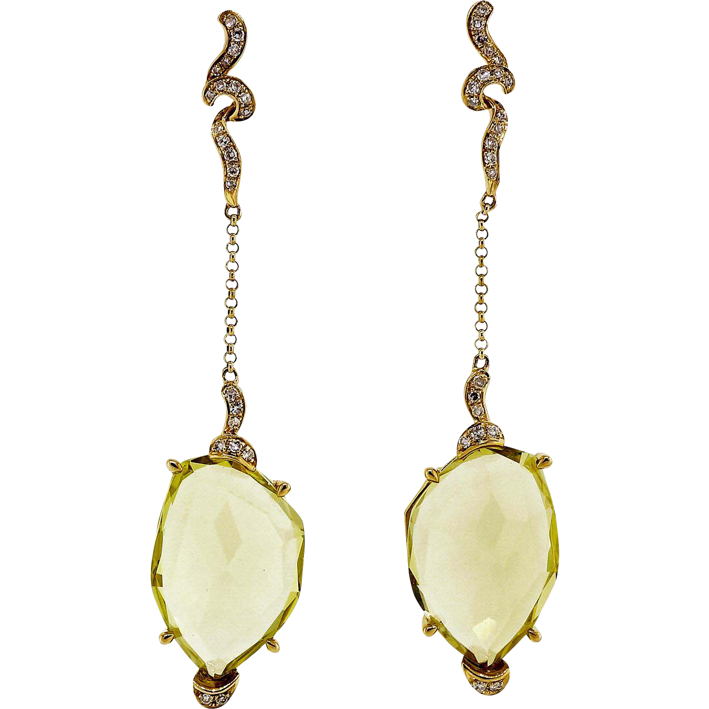 Diamond Lemon Quartz Glass Handmade Dangle Drop Earrings