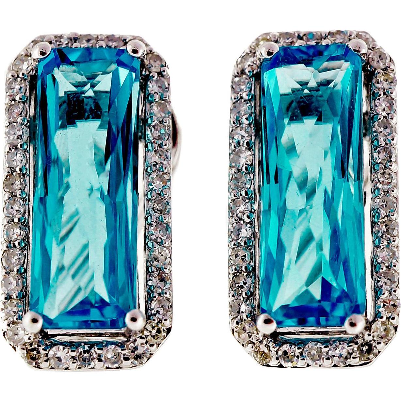 Blue Topaz Diamond Halo 14 Karat White Gold Clip Post Earrings