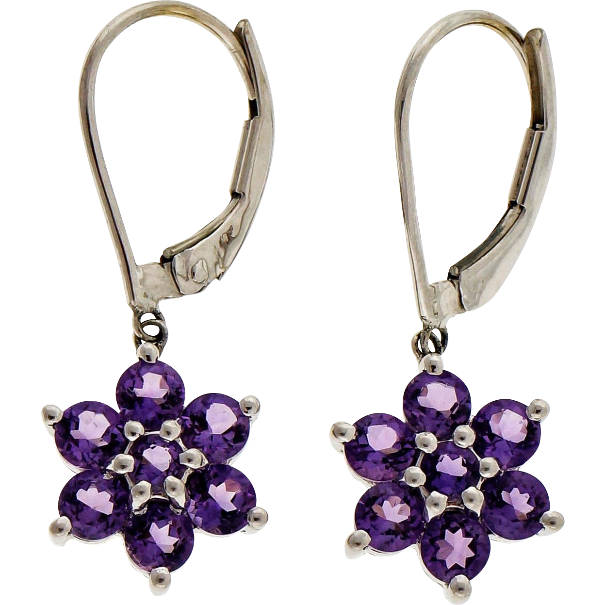 Amethyst 14 Karat White Gold Dangle Earrings