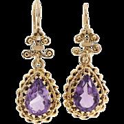 Amethyst 14 Karat Yellow Gold Dangle Drop Earrings