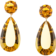 Art Deco 1930s 41.00ct Citrine 18k Yellow Gold Dangle Earrings