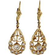 Diamond Art Deco Dangle 14 Karat Yellow Gold Earrings