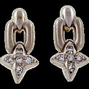 Vintage  .14ct Diamond Platinum Dangle Earrings