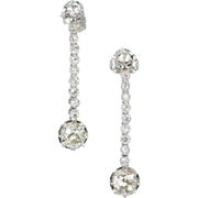 Art Deco Diamond Dangle Drop Platinum Earrings